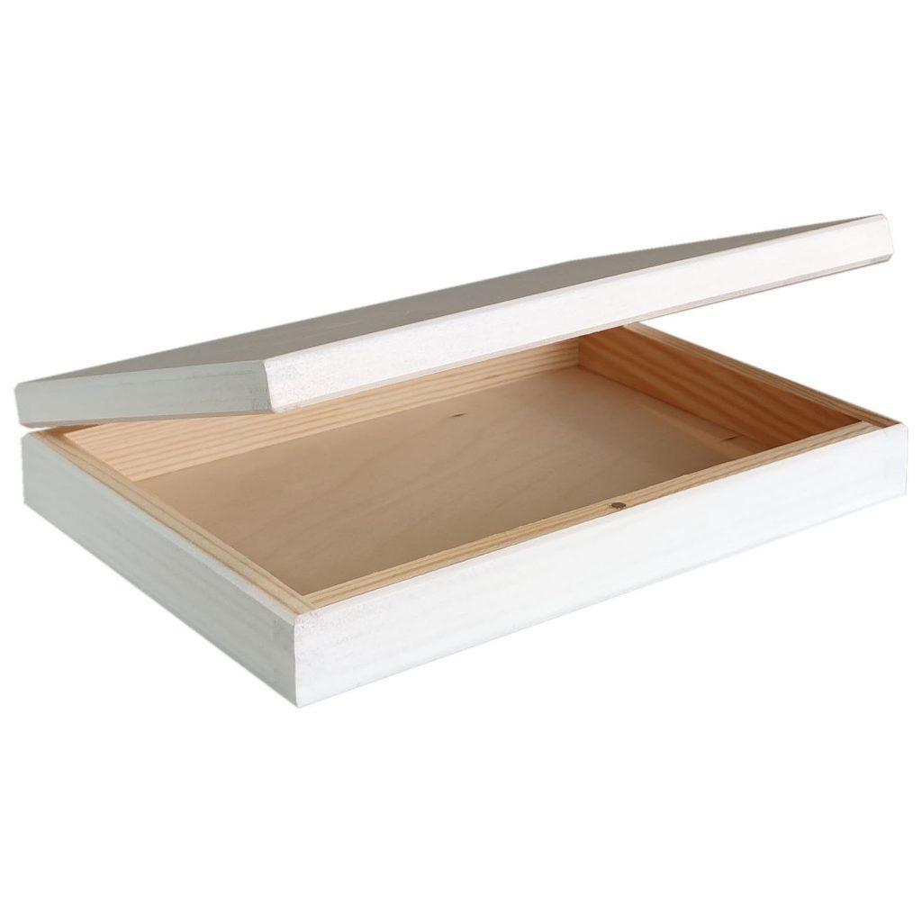 Drewniane Pudełko z magnesem 20x14 - białe