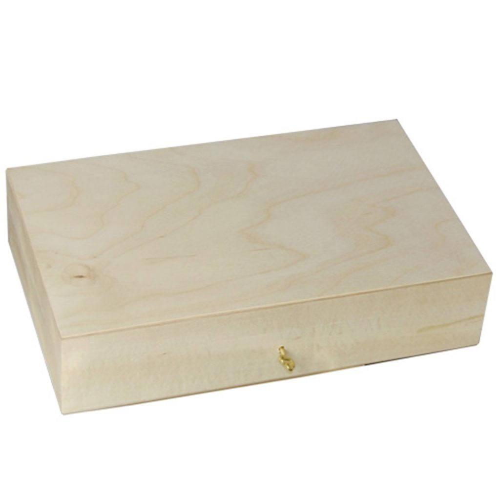 Drewniane Pudełko zamykane z kluczykiem duże