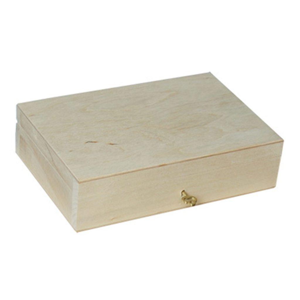 Drewniane Pudełko zamykane z kluczykiem małe