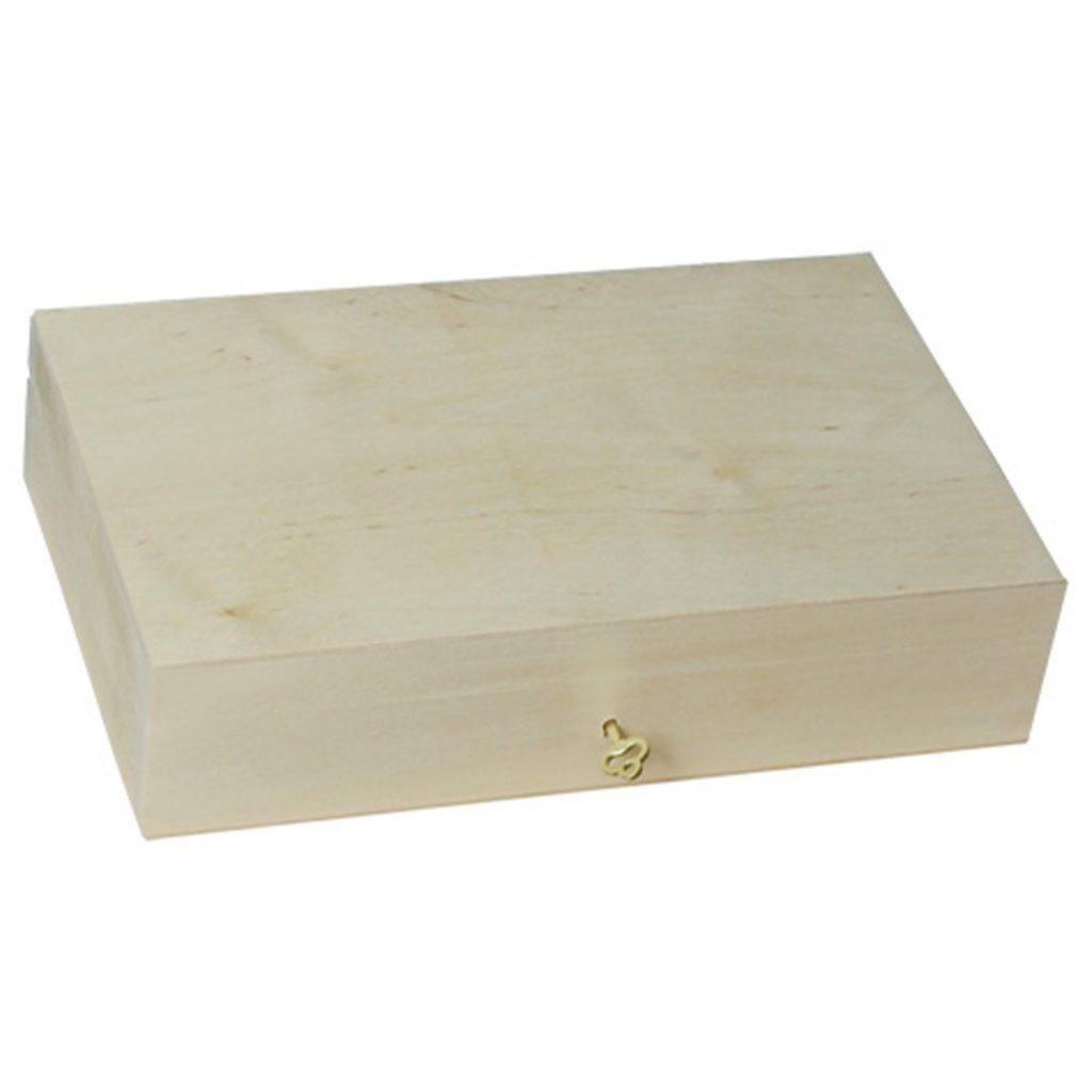 Drewniane Pudełko zamykane z kluczykiem średnie