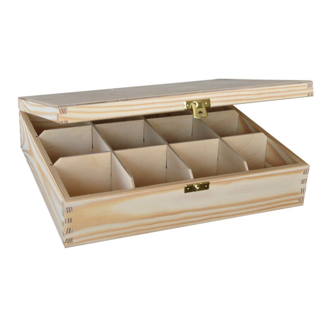 Drewniane Pudełko z 12 przegródkami