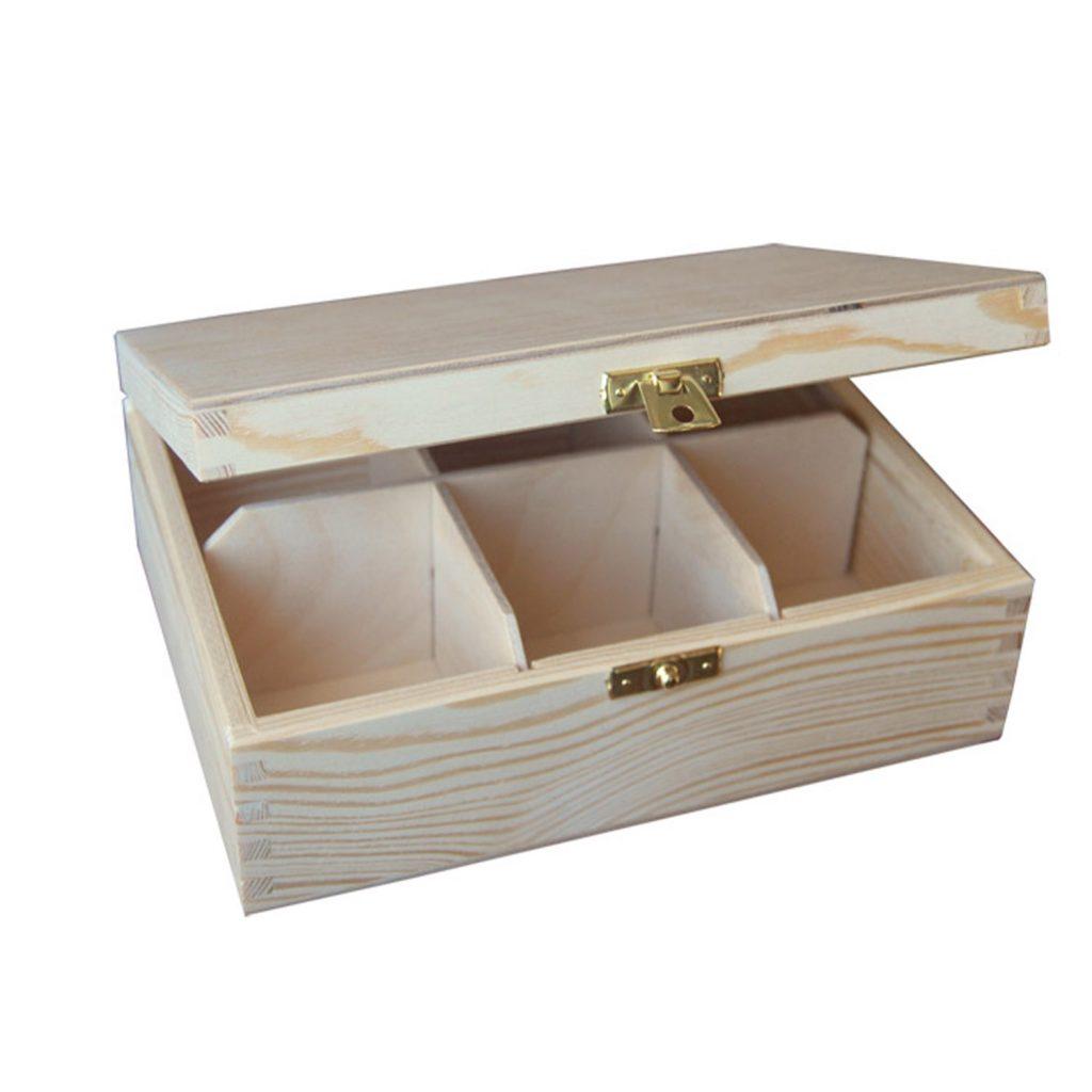 Drewniane Pudełko  z 6 przegródkami