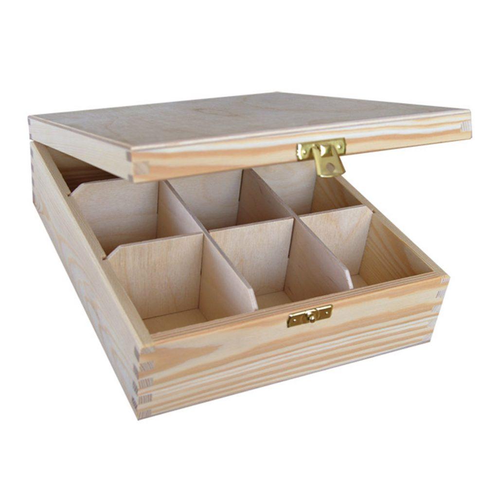 Drewniane Pudełko z 9 przegródkami