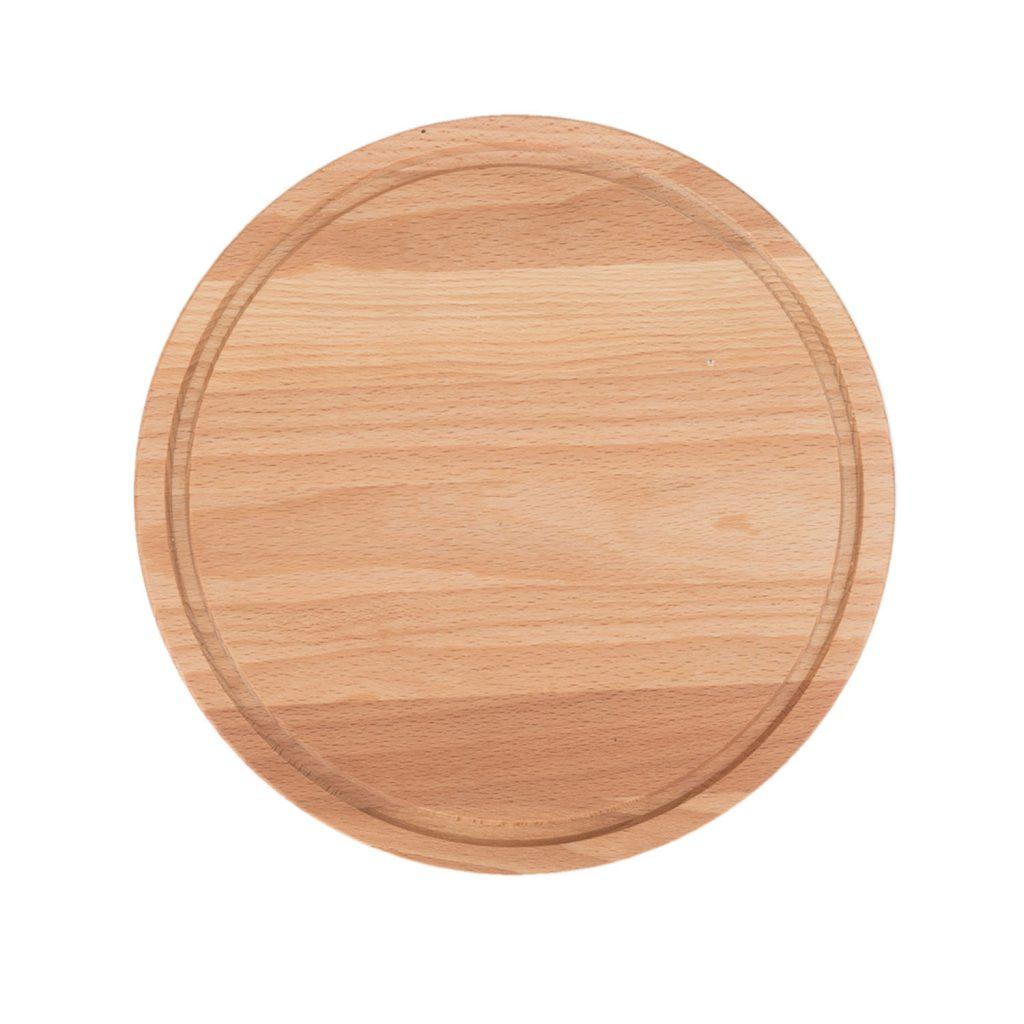 Drewniana Deska do Krojenia okrągła z rowkiem ∅22 - Buk