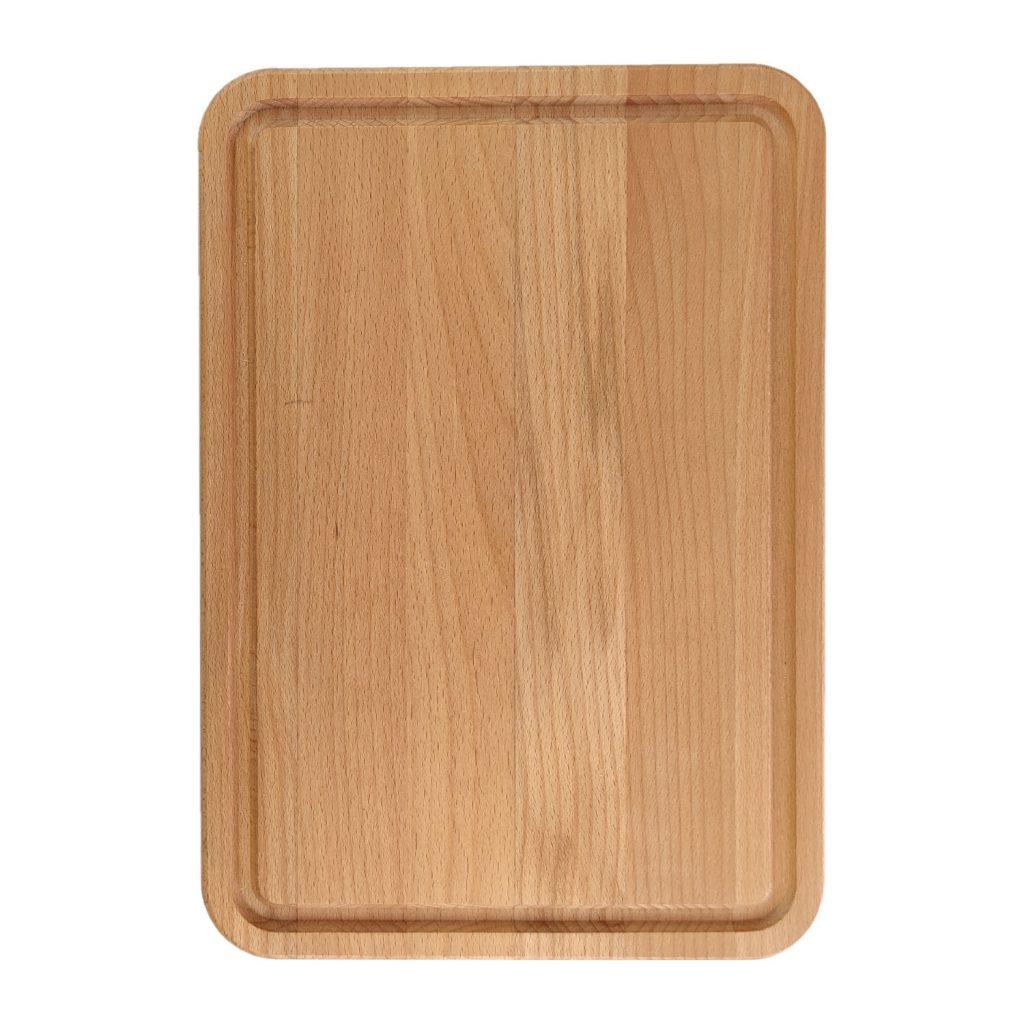 Drewniana deska do Krojenia z rowkiem (Blok) 34x24 - Buk